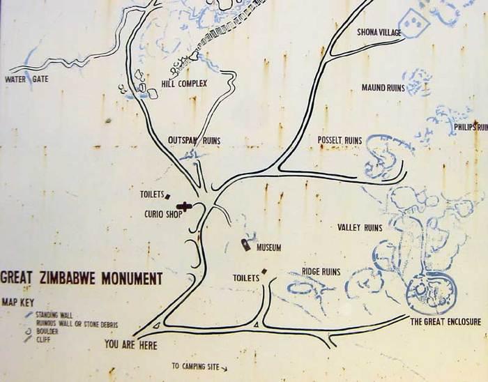 Mapa del Great Zimbabwe, des de la porta d'entrada