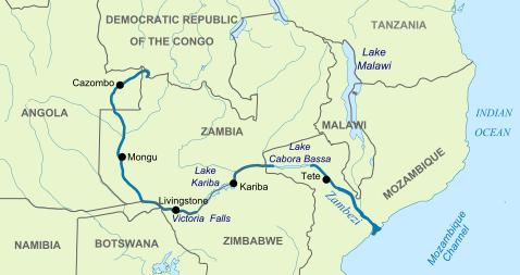 mapa recorregut del zambezi