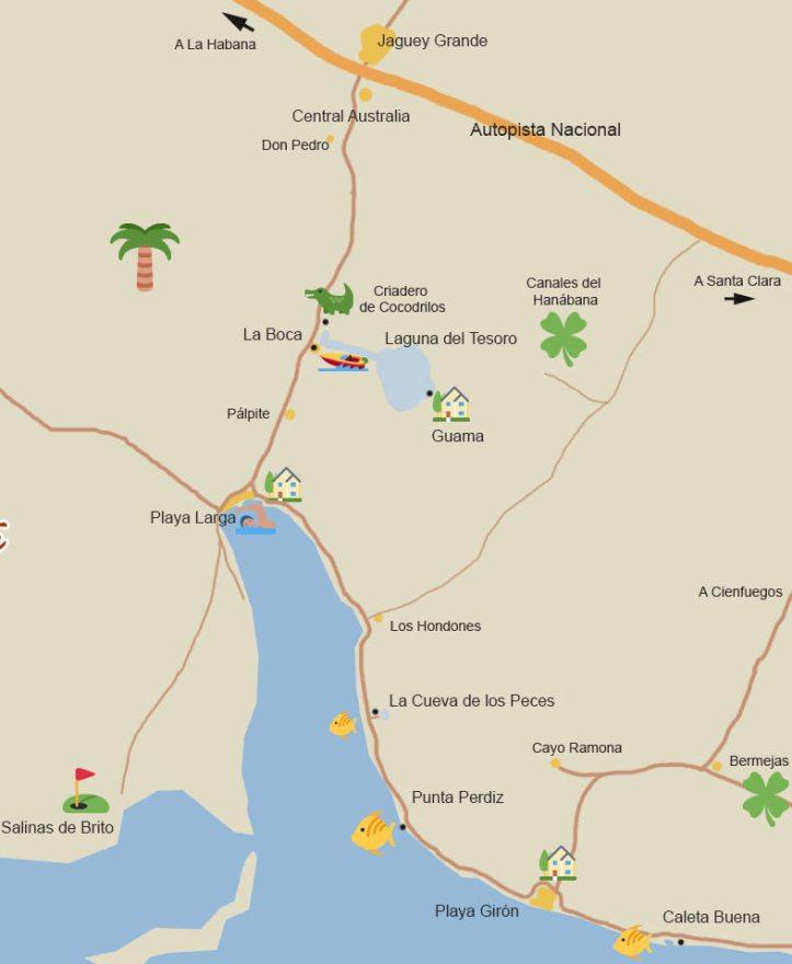 mapa bahía cochinos