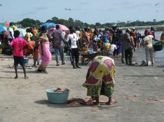 Dona netejant peix a Tanji