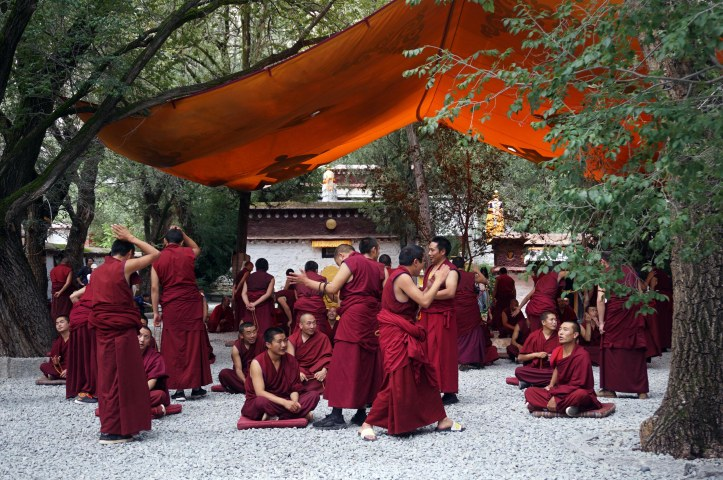 Monjos durant la sessió diària de debat al Monestir de Sera